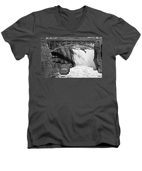 Great Falls In Paterson Nj Men's V-Neck T-Shirt by Anthony Sacco