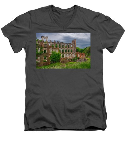 Great Falls Mill Ruins Men's V-Neck T-Shirt