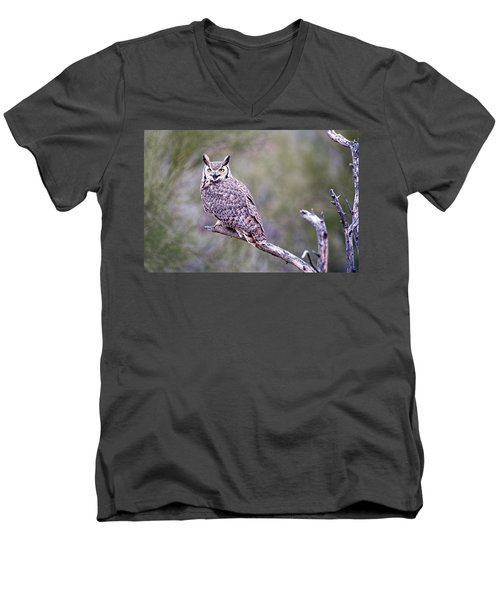 Men's V-Neck T-Shirt featuring the photograph Great Horned Owl by Dan McManus