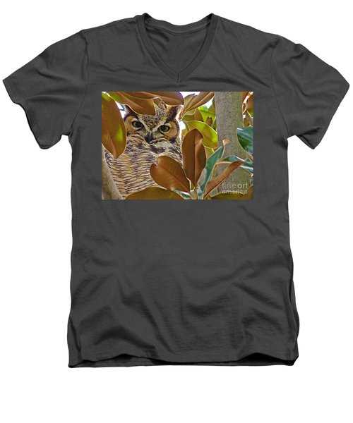 Men's V-Neck T-Shirt featuring the photograph Great Horned Owl by Meghan at FireBonnet Art