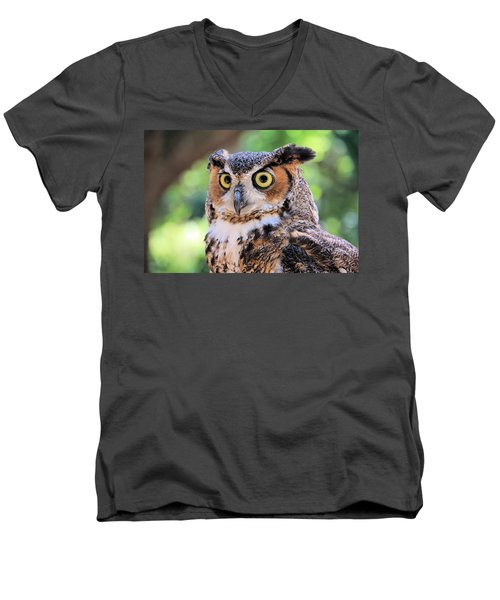 Men's V-Neck T-Shirt featuring the photograph Great Horned Owl by Rosalie Scanlon
