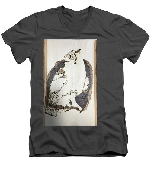 Great Horned Owl Men's V-Neck T-Shirt by Terry Frederick