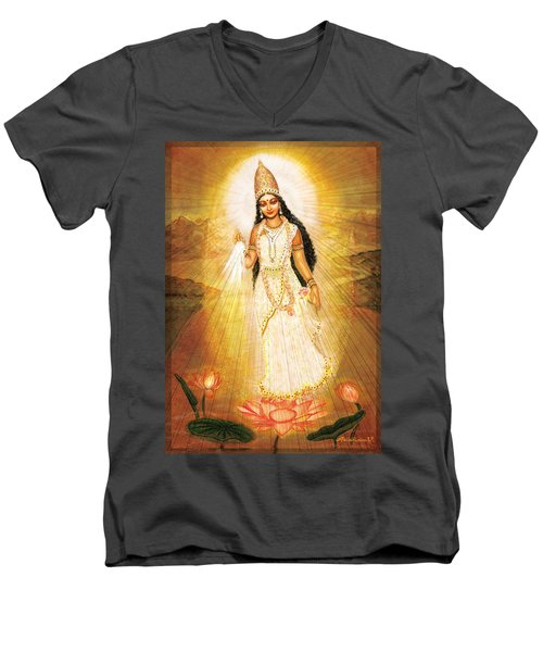 Men's V-Neck T-Shirt featuring the mixed media Great Mother Goddess by Ananda Vdovic
