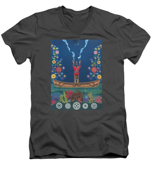 Men's V-Neck T-Shirt featuring the painting Great Teacher - Sedwa'gowa'ne by Chholing Taha