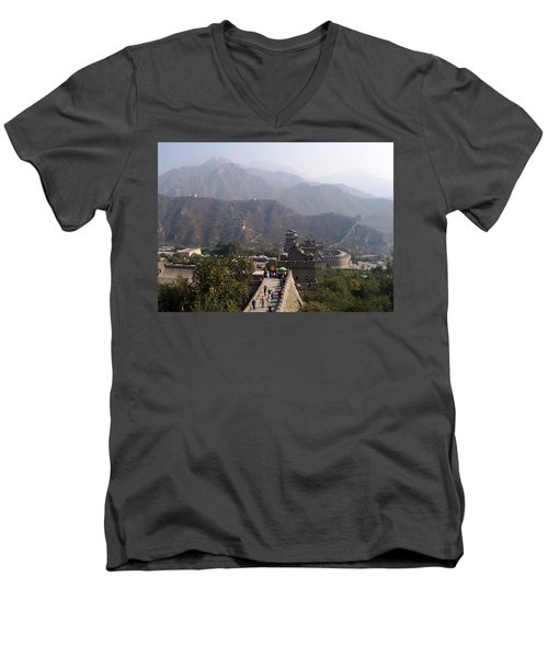 Great Wall Of China At Badaling Men's V-Neck T-Shirt by Debbie Oppermann