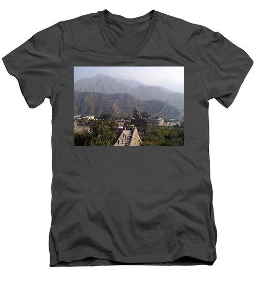 Great Wall Of China At Badaling Men's V-Neck T-Shirt