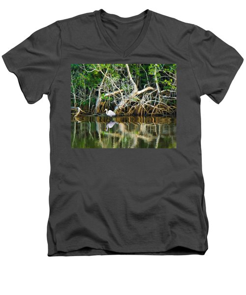 Great White Egret And Reflection In Swamp Mangroves Men's V-Neck T-Shirt