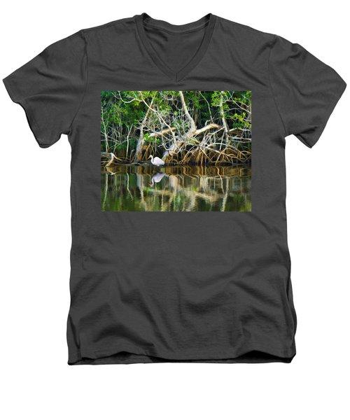 Great White Egret And Reflection In Swamp Mangroves Men's V-Neck T-Shirt
