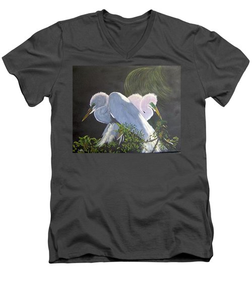 Great White Egrets Men's V-Neck T-Shirt