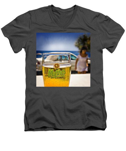 Greek Beer Goggles Men's V-Neck T-Shirt by Meirion Matthias
