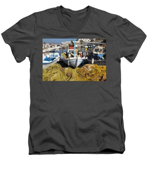 Greek Fishing Harbour Men's V-Neck T-Shirt