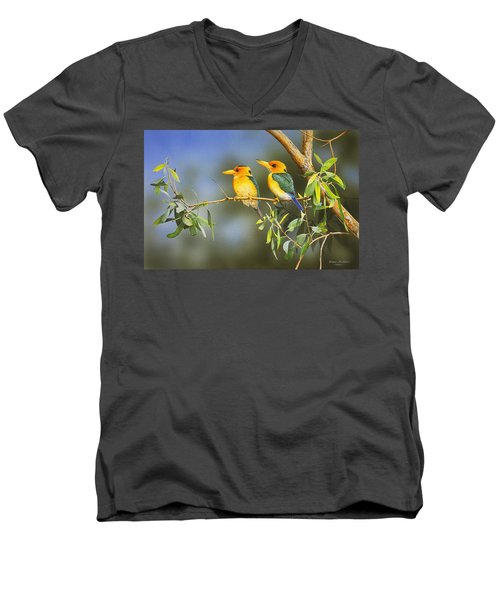 Green And Gold - Yellow-billed Kingfishers Men's V-Neck T-Shirt