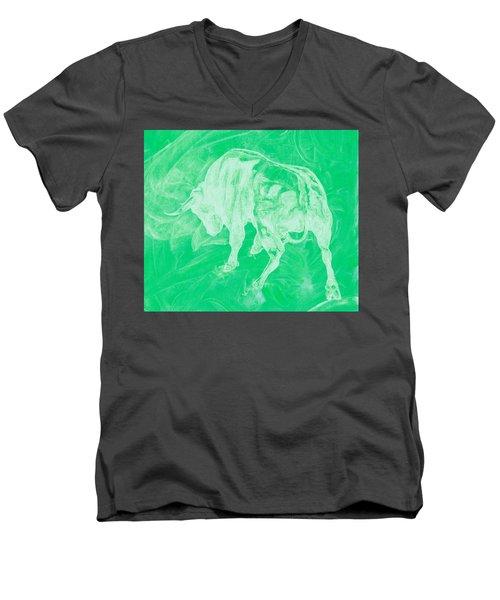 Green Bull Negative Men's V-Neck T-Shirt