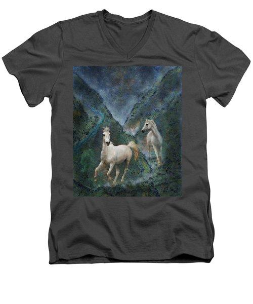 Green Canyon Run Men's V-Neck T-Shirt by Melinda Hughes-Berland