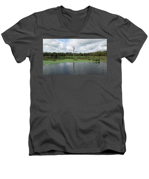 Men's V-Neck T-Shirt featuring the photograph Green Cay Panorama by Ron Davidson