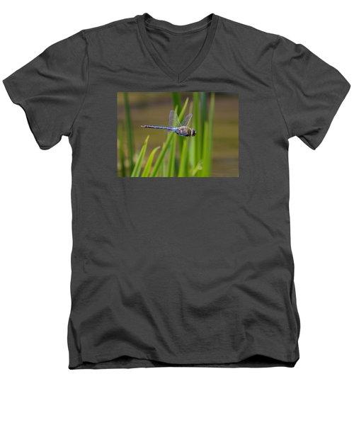 Green Darner Flight Men's V-Neck T-Shirt by David Lester