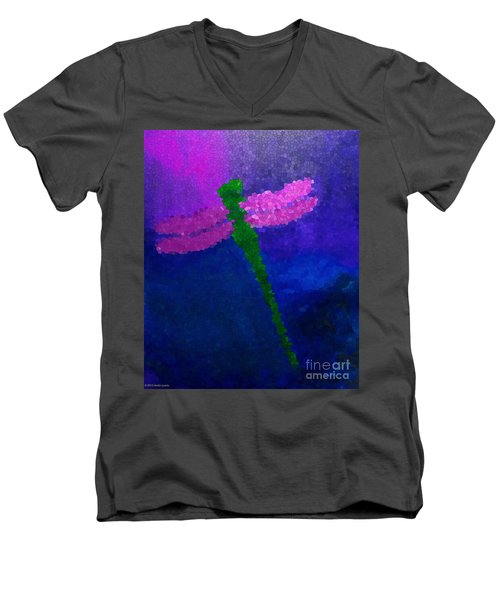 Green Dragonfly Men's V-Neck T-Shirt by Anita Lewis