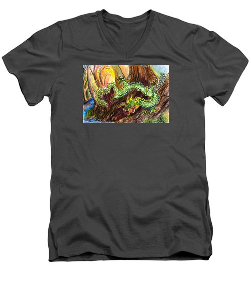 Green Earth Dragon Men's V-Neck T-Shirt