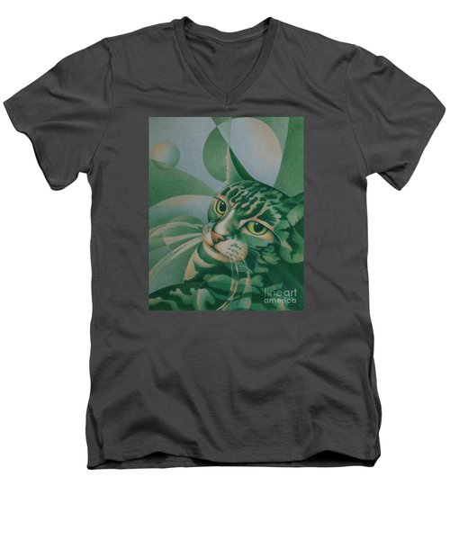 Men's V-Neck T-Shirt featuring the painting Green Feline Geometry by Pamela Clements