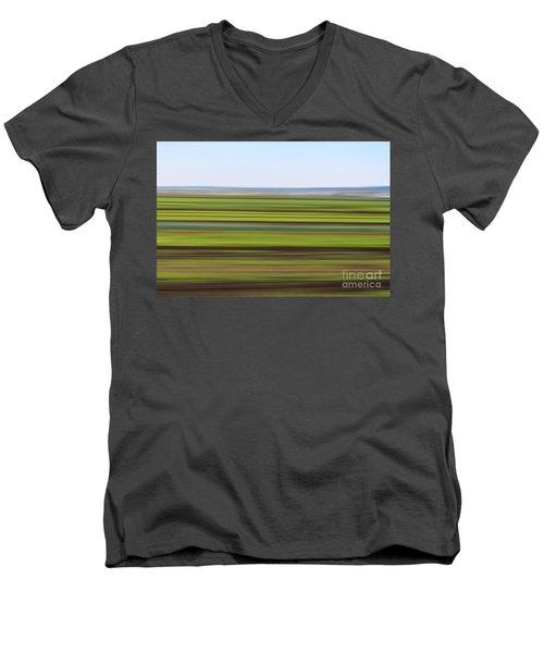 Green Field Abstract Men's V-Neck T-Shirt