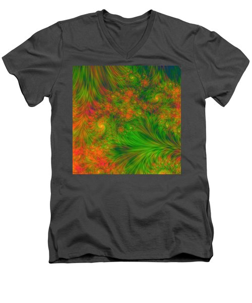 Men's V-Neck T-Shirt featuring the digital art Green Green Grass Of Home by Svetlana Nikolova