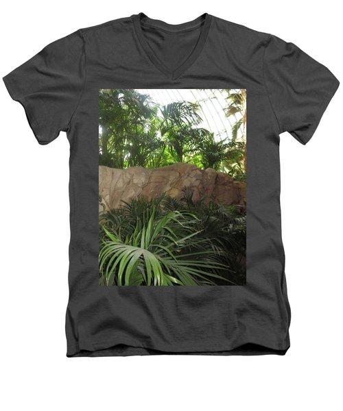 Men's V-Neck T-Shirt featuring the photograph Green Interiors Vegas Casinos Resorts Hotels by Navin Joshi