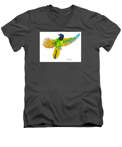 Da175 Green Jay By Daniel Adams Men's V-Neck T-Shirt