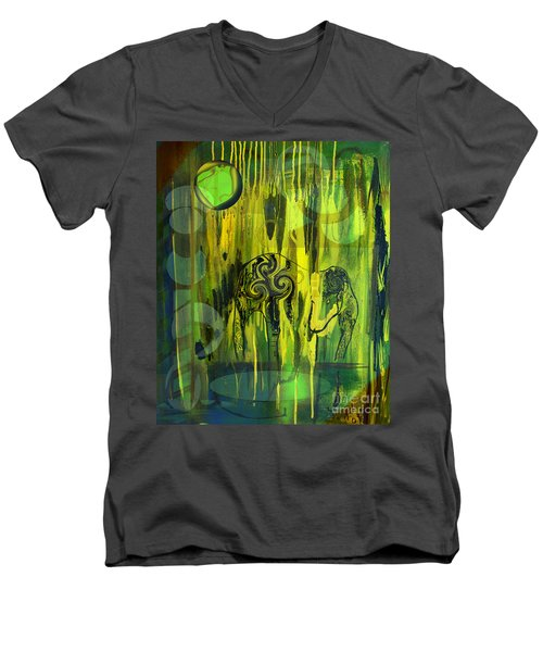 Men's V-Neck T-Shirt featuring the painting Green Light by Yul Olaivar