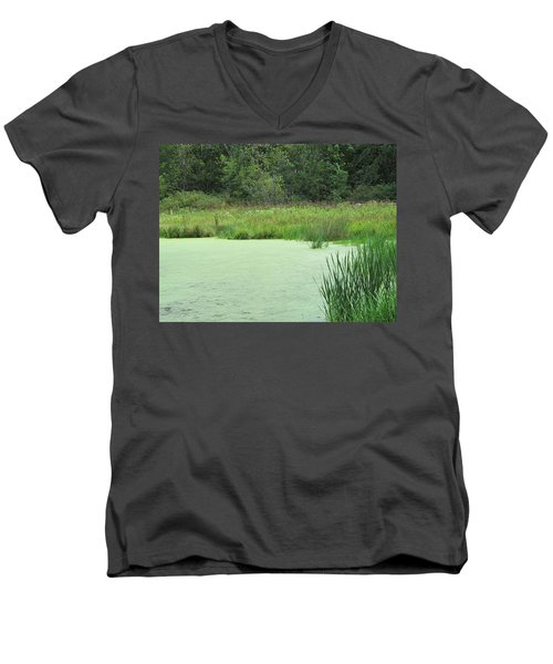 Men's V-Neck T-Shirt featuring the photograph Green Moss by Tina M Wenger