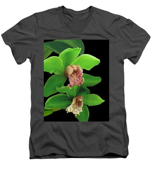 Green Orchids Men's V-Neck T-Shirt