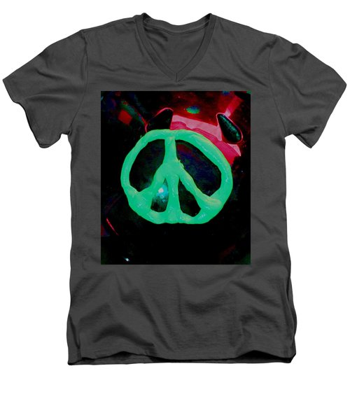 Peace Symbol Men's V-Neck T-Shirt by Dan Twyman