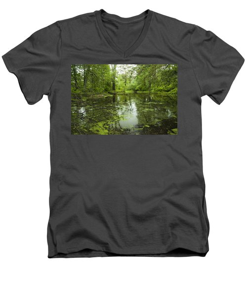 Men's V-Neck T-Shirt featuring the photograph Green Blossoms On Pond by Jerry Cowart