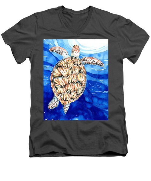 Green Sea Turtle Surfacing Men's V-Neck T-Shirt