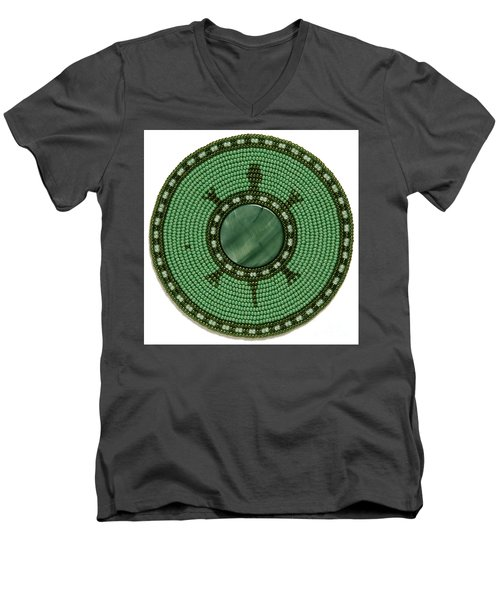Green Shell Turtle Men's V-Neck T-Shirt