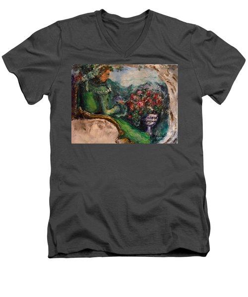 Green Tea In The Garden Men's V-Neck T-Shirt