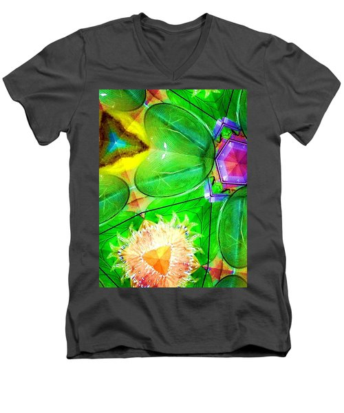 Green Thing 2 Abstract Men's V-Neck T-Shirt by Saundra Myles