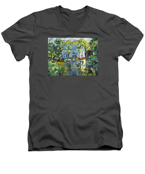 Men's V-Neck T-Shirt featuring the painting Green Township Mill House by Michael Daniels