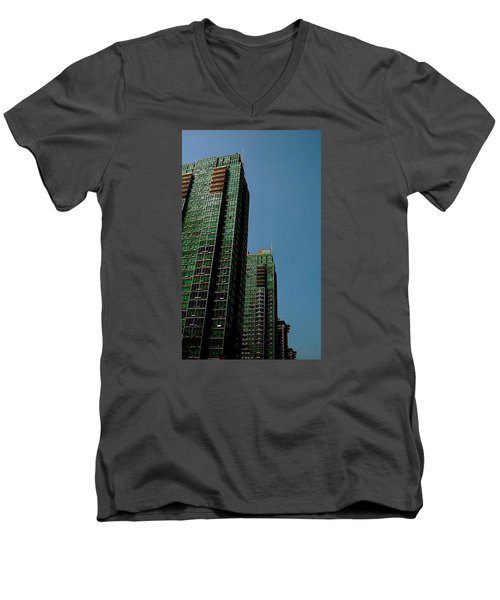 Green Vancouver Towers Men's V-Neck T-Shirt