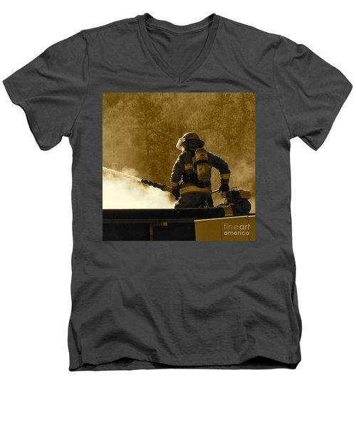 Greer Lodge  Men's V-Neck T-Shirt by Pamela Walrath