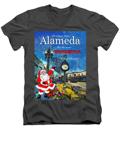 Alameda Christmas Greeting Men's V-Neck T-Shirt by Linda Weinstock