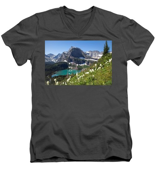 Grinnell Lake With Beargrass Men's V-Neck T-Shirt by Jack Bell
