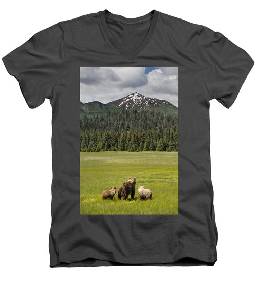 Grizzly Bear Mother And Cubs In Meadow Men's V-Neck T-Shirt