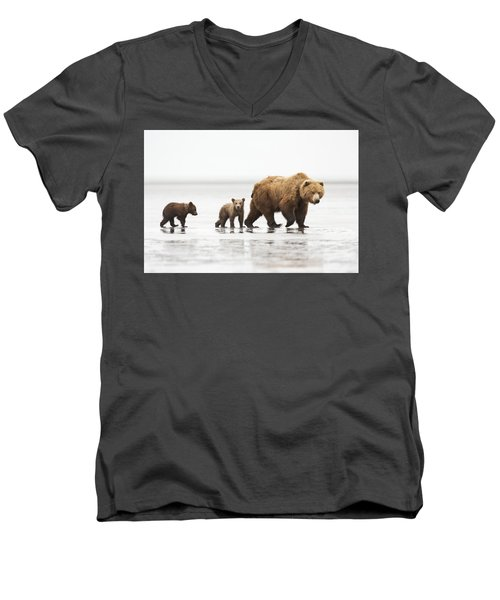 Grizzly Bear Mother And Cubs Lake Clark Men's V-Neck T-Shirt