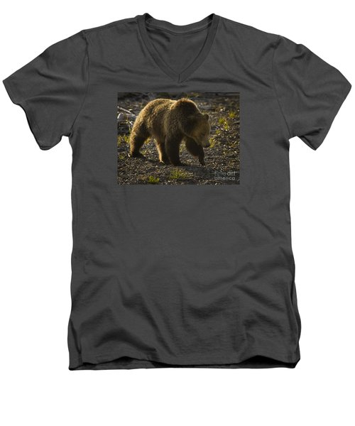 Men's V-Neck T-Shirt featuring the photograph Grizzly Bear-signed-#4435 by J L Woody Wooden