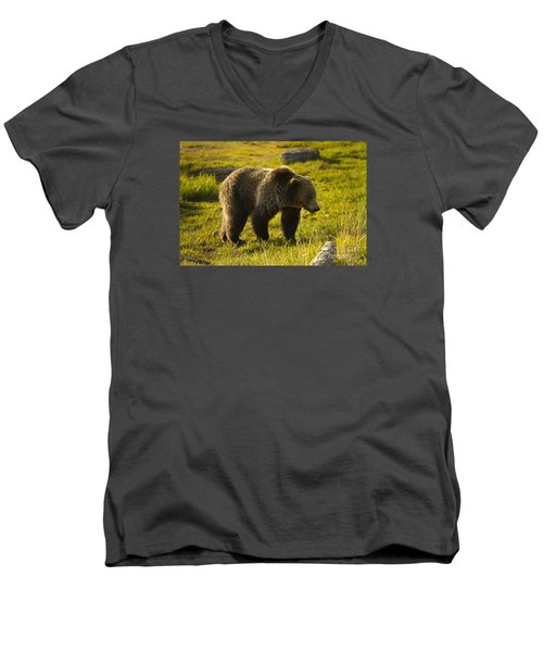 Men's V-Neck T-Shirt featuring the photograph Grizzly Bear-signed-#4477 by J L Woody Wooden