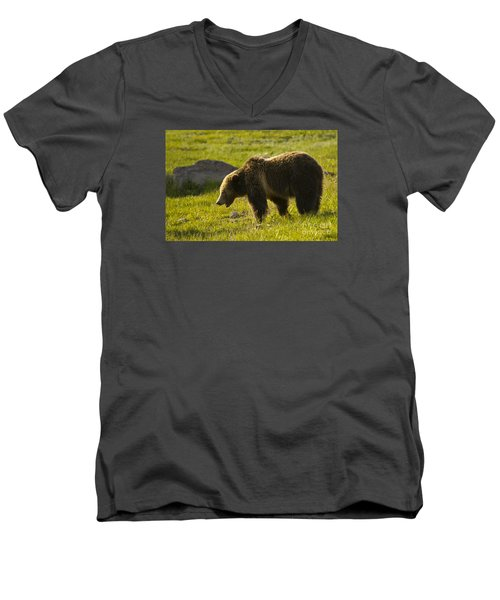 Men's V-Neck T-Shirt featuring the photograph Grizzly Bear-signed-#4535 by J L Woody Wooden