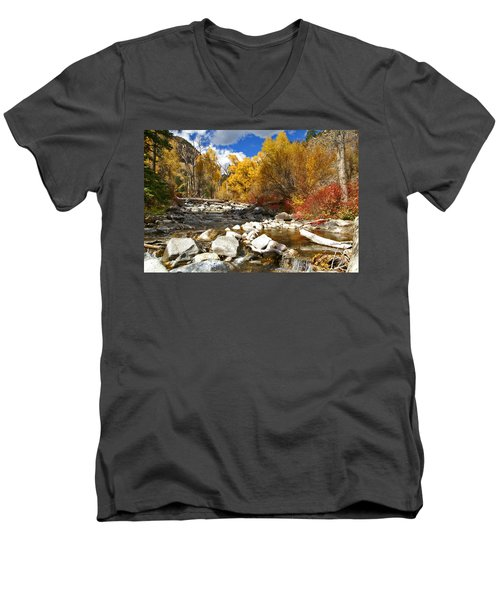 Men's V-Neck T-Shirt featuring the photograph Grizzly Creek Canyon by Jeremy Rhoades