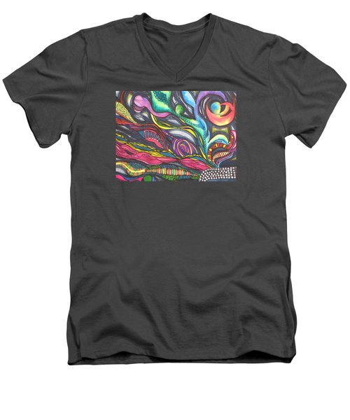Men's V-Neck T-Shirt featuring the painting Groovy Series Titled Thoughts by Chrisann Ellis