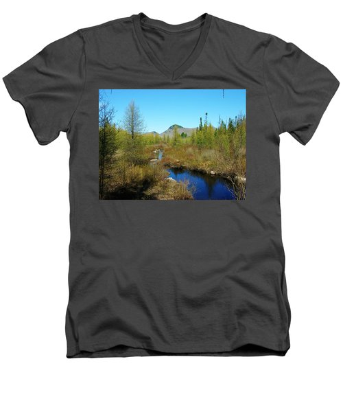Men's V-Neck T-Shirt featuring the photograph Groton State Forest Moose Country by Sherman Perry