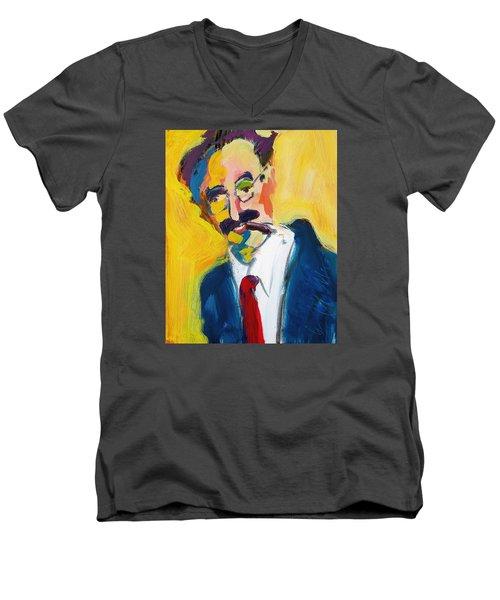 Groucho Men's V-Neck T-Shirt by Les Leffingwell